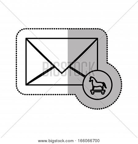 monochrome middle shadow sticker of mail virus trojan horse vector illustration