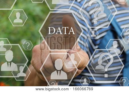 Farmer businessman  push the web icon DATA in the web network on the touch screen in the web network