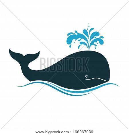 Icon of whale with water fountain blow