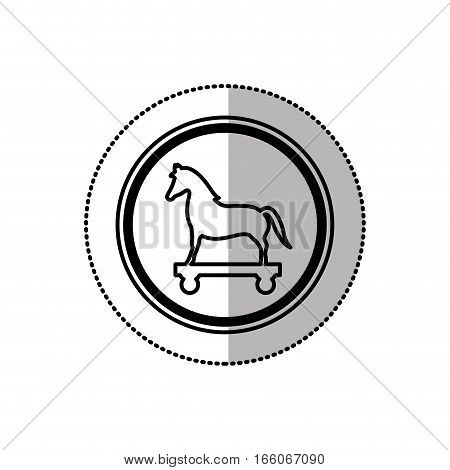 monochrome middle shadow sticker of trojan horse in circle vector illustration