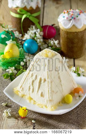 Easter Background. Traditional Easter Holiday Table: Cake, Easter And Colorful Easter Eggs.