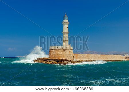 Old lighthouse in Chania in stormy weather.