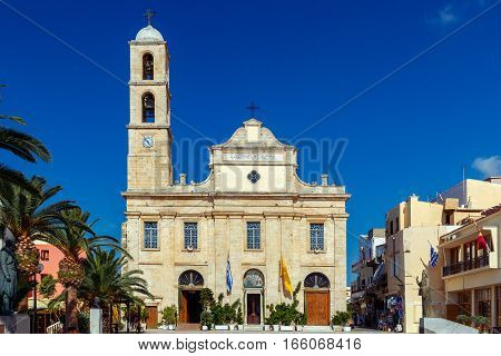 Cathedral of the three martyrs on Athenagoras area. Chania. Crete.