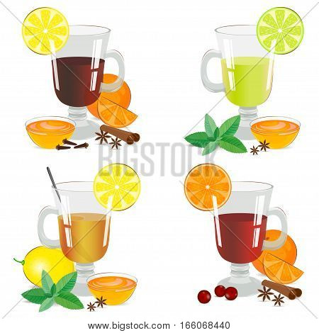 Set of isolated hot drinks. Alcoholic and nonalcoholic hot drinks. Vector illustration.