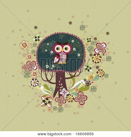 cute owl on a tree design