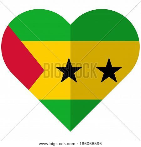 Sao Tome And Principe Flat Heart Flag