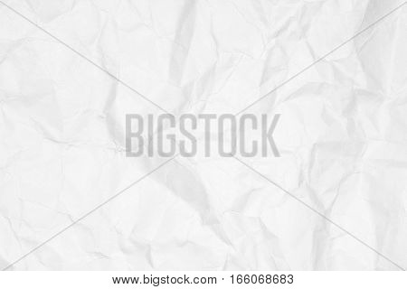 Crumpled white paper texture or white paper background for design with copy space for text or image.