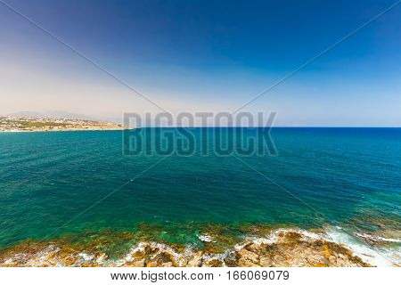 Rethymnon Island Crete Greece - June 23 2016:Panorama of sea of Crete near Rethymnon. View from wall of Fortezza Castle