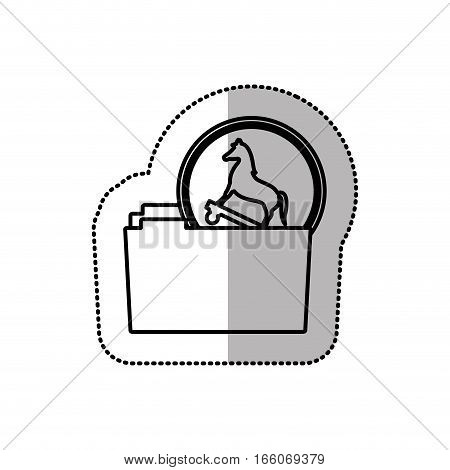 monochrome middle shadow sticker of folder virus trojan horse vector illustration