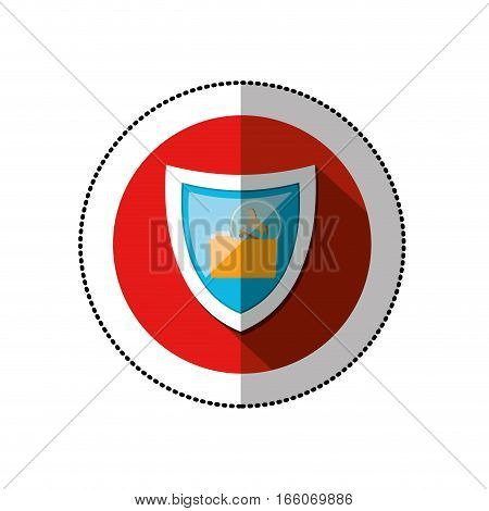 colorful middle shadow sticker with circle with shield and folder trojan horse vector illustration