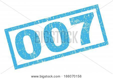 007 text rubber seal stamp watermark. Caption inside rectangular shape with grunge design and unclean texture. Inclined vector blue ink sign on a white background.