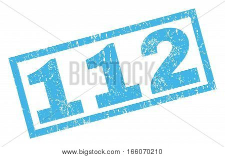 112 text rubber seal stamp watermark. Caption inside rectangular shape with grunge design and dust texture. Inclined vector blue ink sign on a white background.