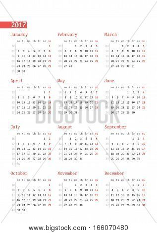 Calendar For 2017 Year With Week Numbers On White Background. Vector Design Print Template. Week Sta