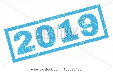 2019 text rubber seal stamp watermark. Caption inside rectangular shape with grunge design and dust texture. Inclined vector blue ink sign on a white background.