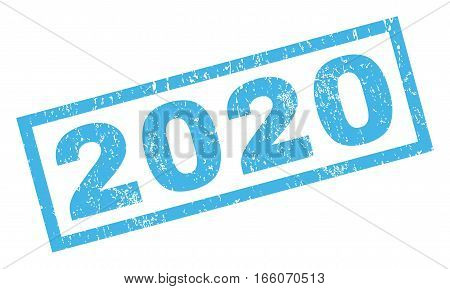 2020 text rubber seal stamp watermark. Tag inside rectangular banner with grunge design and scratched texture. Inclined vector blue ink sign on a white background.