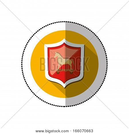 colorful middle shadow sticker with circle with shield and trojan horse vector illustration