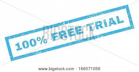 100 Percent Free Trial text rubber seal stamp watermark. Caption inside rectangular banner with grunge design and unclean texture. Inclined vector blue ink sign on a white background.