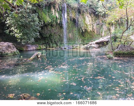 amazing natural scane which has waterfall and lake