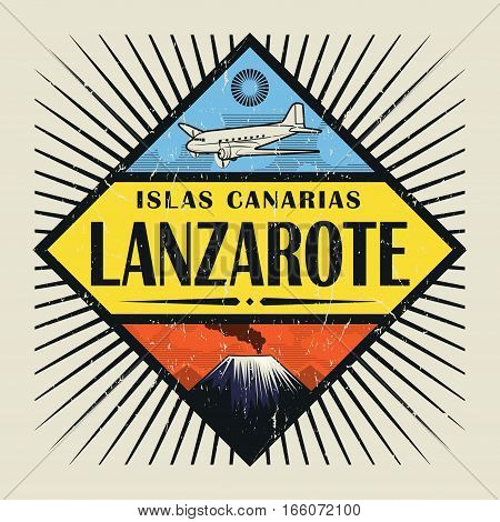 Stamp or vintage emblem with airplane volcano and text Lanzarote Canary island (in spanish) vector illustration