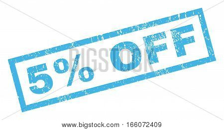 5 Percent Off text rubber seal stamp watermark. Tag inside rectangular shape with grunge design and dirty texture. Inclined vector blue ink emblem on a white background.
