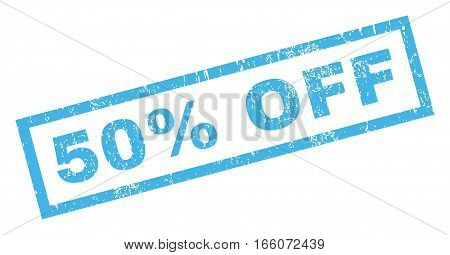 50 Percent Off text rubber seal stamp watermark. Caption inside rectangular banner with grunge design and scratched texture. Inclined vector blue ink emblem on a white background.