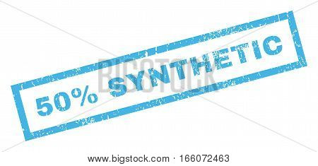 50 Percent Synthetic text rubber seal stamp watermark. Caption inside rectangular banner with grunge design and unclean texture. Inclined vector blue ink emblem on a white background.