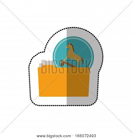 colorful middle shadow sticker of virus trojan horse folder vector illustration