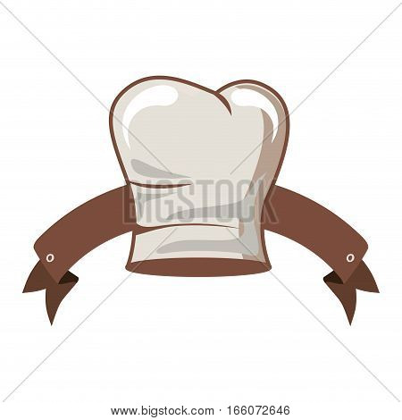 silhouette of chefs hat elongated and ribbon vector illustration