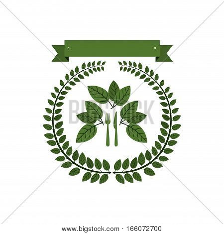 crown of leaves with silverware and label vector illustration
