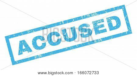 Accused text rubber seal stamp watermark. Caption inside rectangular shape with grunge design and unclean texture. Inclined vector blue ink sign on a white background.