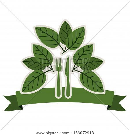 silhouette with leaves and silverware and ribbon vector illustration