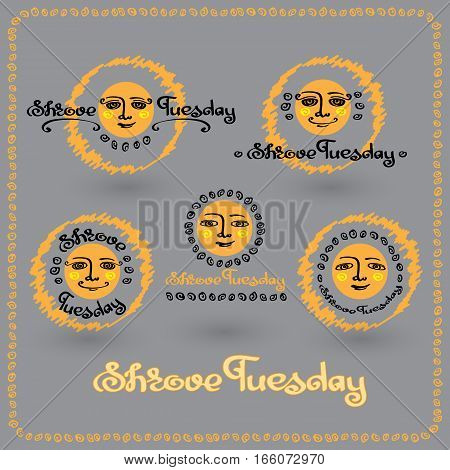Vector set of Shrove Tuesday or Shrovetide labels with sun,  handwritten words and abstract decorative elements isolated on grey background.