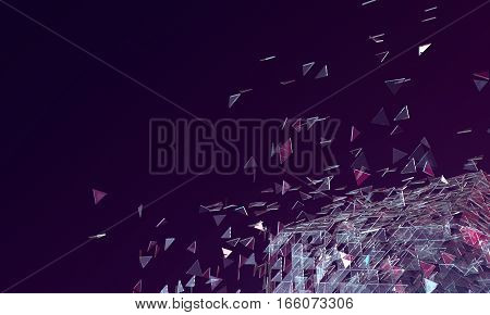 Abstract Dark Purple Background Broken Glass Platonic with Triangle Particles in Space. 3D Render Illustration.