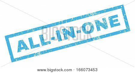 All-In-One text rubber seal stamp watermark. Tag inside rectangular banner with grunge design and dirty texture. Inclined vector blue ink sign on a white background.