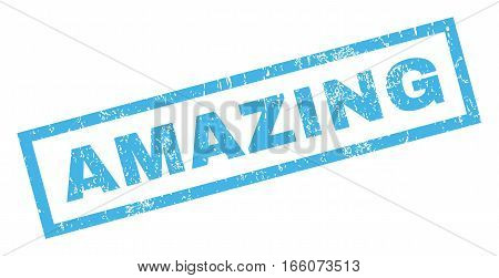 Amazing text rubber seal stamp watermark. Tag inside rectangular shape with grunge design and unclean texture. Inclined vector blue ink emblem on a white background.