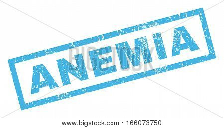 Anemia text rubber seal stamp watermark. Tag inside rectangular shape with grunge design and scratched texture. Inclined vector blue ink sticker on a white background.