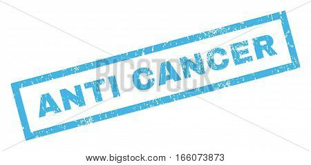 Anti Cancer text rubber seal stamp watermark. Tag inside rectangular shape with grunge design and dirty texture. Inclined vector blue ink sign on a white background.