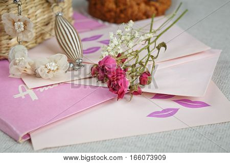 American cookies with dry roses flower and vintage things. romantic style