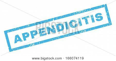 Appendicitis text rubber seal stamp watermark. Tag inside rectangular banner with grunge design and scratched texture. Inclined vector blue ink sign on a white background.