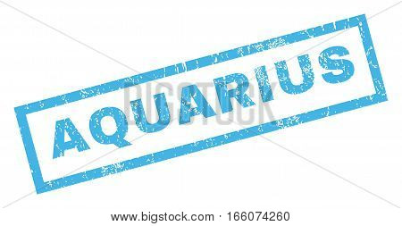Aquarius text rubber seal stamp watermark. Caption inside rectangular shape with grunge design and dust texture. Inclined vector blue ink sign on a white background.