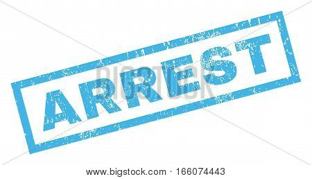Arrest text rubber seal stamp watermark. Tag inside rectangular banner with grunge design and dust texture. Inclined vector blue ink emblem on a white background.