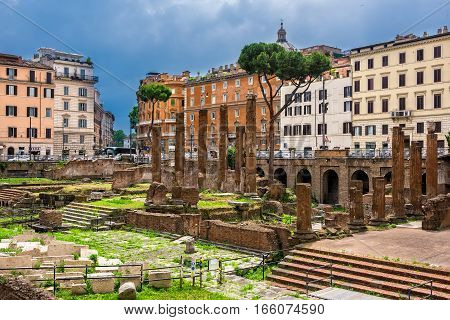 Rome Italy - June 10 2016: Largo di Torre Argentiina a square that has four Republican Roman Temples and the remains of Pompey's Theatre.