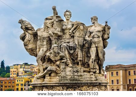 Roman sculpture on the Ponte Vittorio Emanuele II bridge in city of Rome.