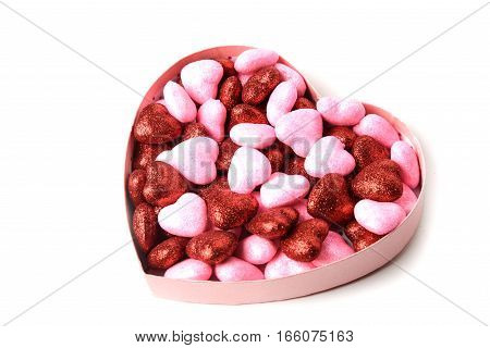 glowing heart with shiny dots in the box in the form of heart on white background