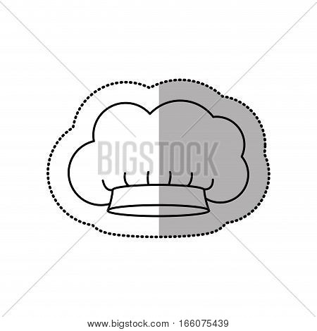 silhouette dotted sticker of chefs hat with medium shade in small cumulus shape vector illustration
