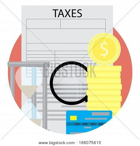 Taxation icon vector. Tax form and money golden coins and credit card illustration