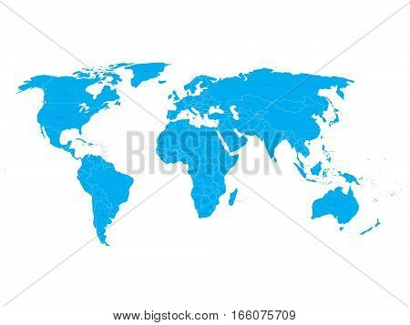 Vector World Map with state name labels. Blue land with black text on white background. Hand drawn simplified illustration.