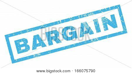 Bargain text rubber seal stamp watermark. Caption inside rectangular banner with grunge design and scratched texture. Inclined vector blue ink sign on a white background.
