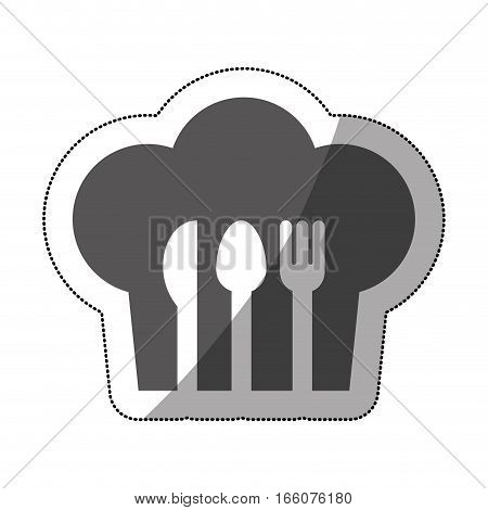 gray scale stricker of chefs hat with cutlery shading vector illustration