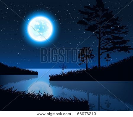 Stock vector illustration of night landscape with starry sky and full moon on a background of silhouettes of trees with reflection in the lake water for banner, website, printed materials, cards